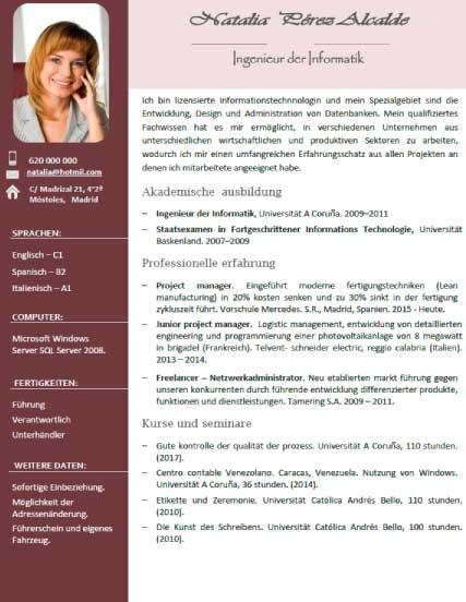 esempio di curriculum in tedesco